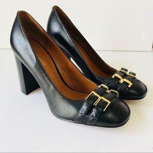 Nine West Natural Leather Block Heel Pumps Sz 9.5
